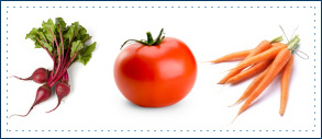 Ingredients image (radish, tomato, carrots)